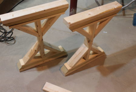wooden desk DIY legs pyramid