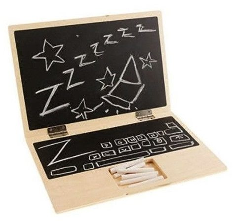 wood toy chalkboard laptop